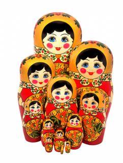 12 Khokhloma matryoshka dolls
