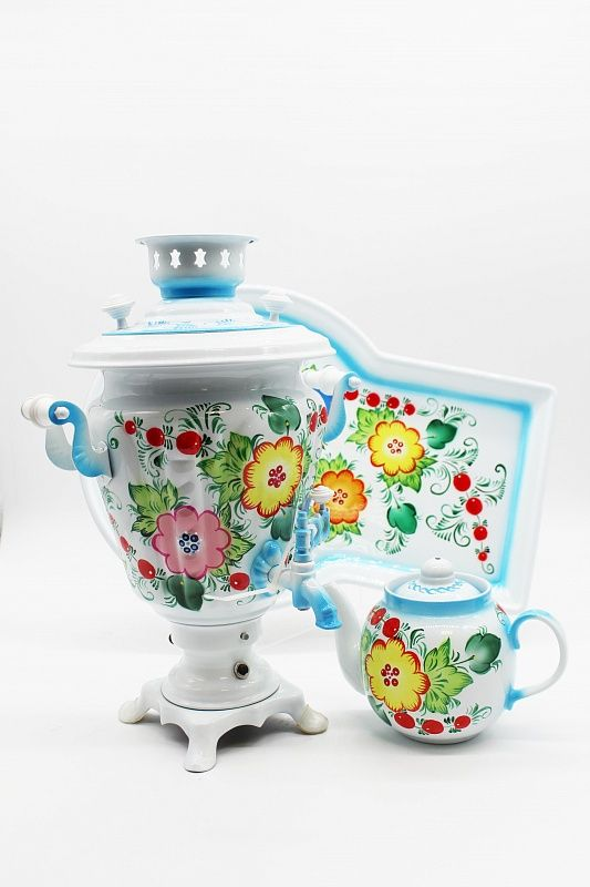 "Dulevo porcelain / Electric samovar 3 l. ""Bouquet on white"" Glass in a set with auto-off."
