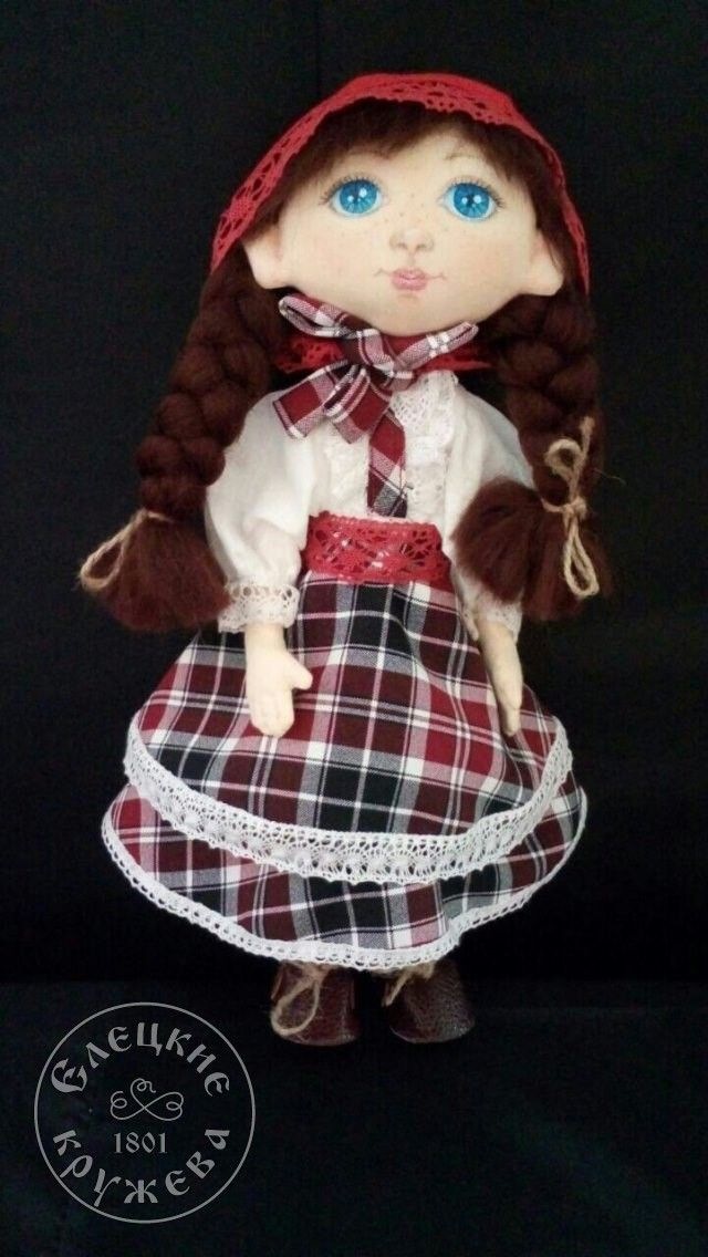 Elets lace / Interior textile doll, checkered dress