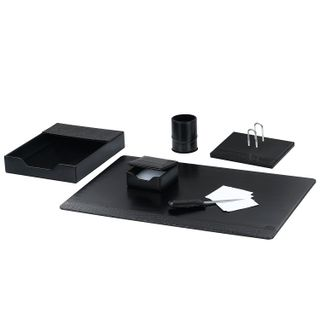 GALANT table set made of eco-leather, 6 items under smooth/Croco leather, black