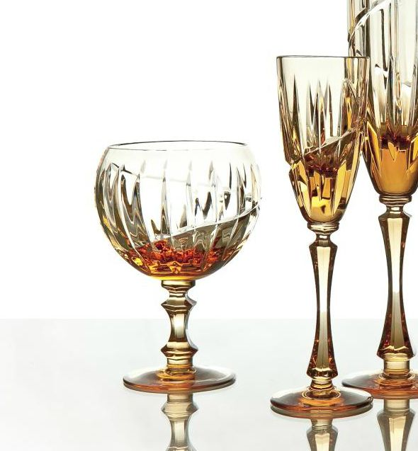 """A set of crystal glasses for cognac """"Vertical"""" amber 6 pieces"""