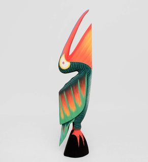 """The wooden statue of the """"Green Pelican"""" 80 cm"""