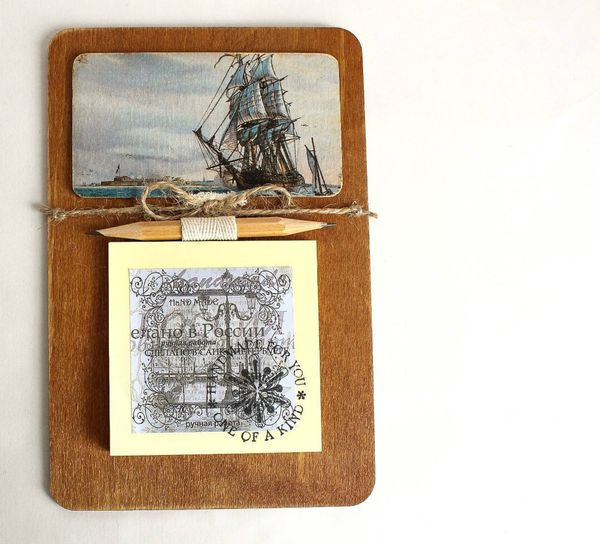Handmade men's souvenir magnet Sailboat with notebook for notes