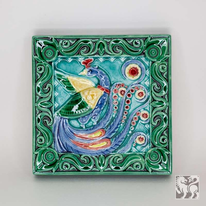 """Yaroslavl majolica / Tile """"Peacock"""", green"""