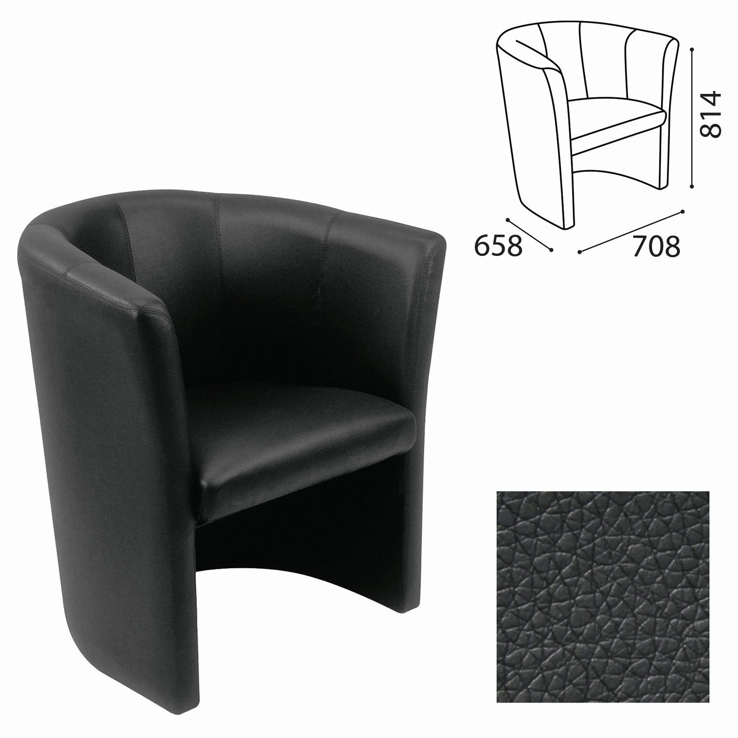 """Chair """"Club"""", 814x708x658 mm, with armrests, leatherette, black"""