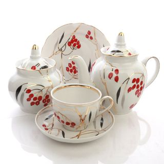 Dulevo porcelain / Tea set 20 pcs Pomegranate Dogwood