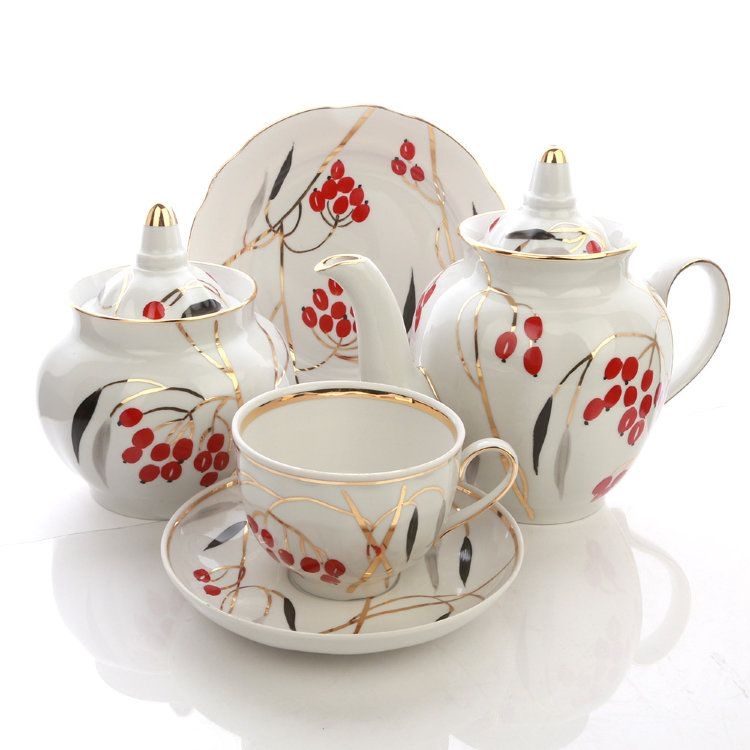 Dulevo porcelain / Tea set 20 pcs Pomegranate Dogwood