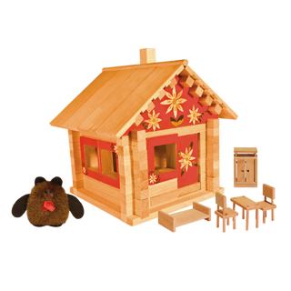 Designer Hut house with dolls, furniture and paintings, 95 elements, Pelsi
