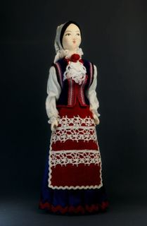 Doll gift porcelain. Poland. the city of Kujawy.Holiday women's costume of Polish Jews. The late 19th-early 20th