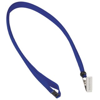 The lanyard, 45 cm, with a secure grip, with clip, BLUE, BRAUBERG