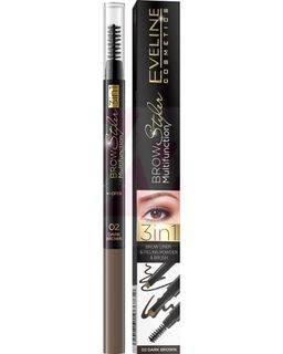 Multifunction Styler eyebrow 3in1: 02-dark-brown brow styler series multifunction, Eveline