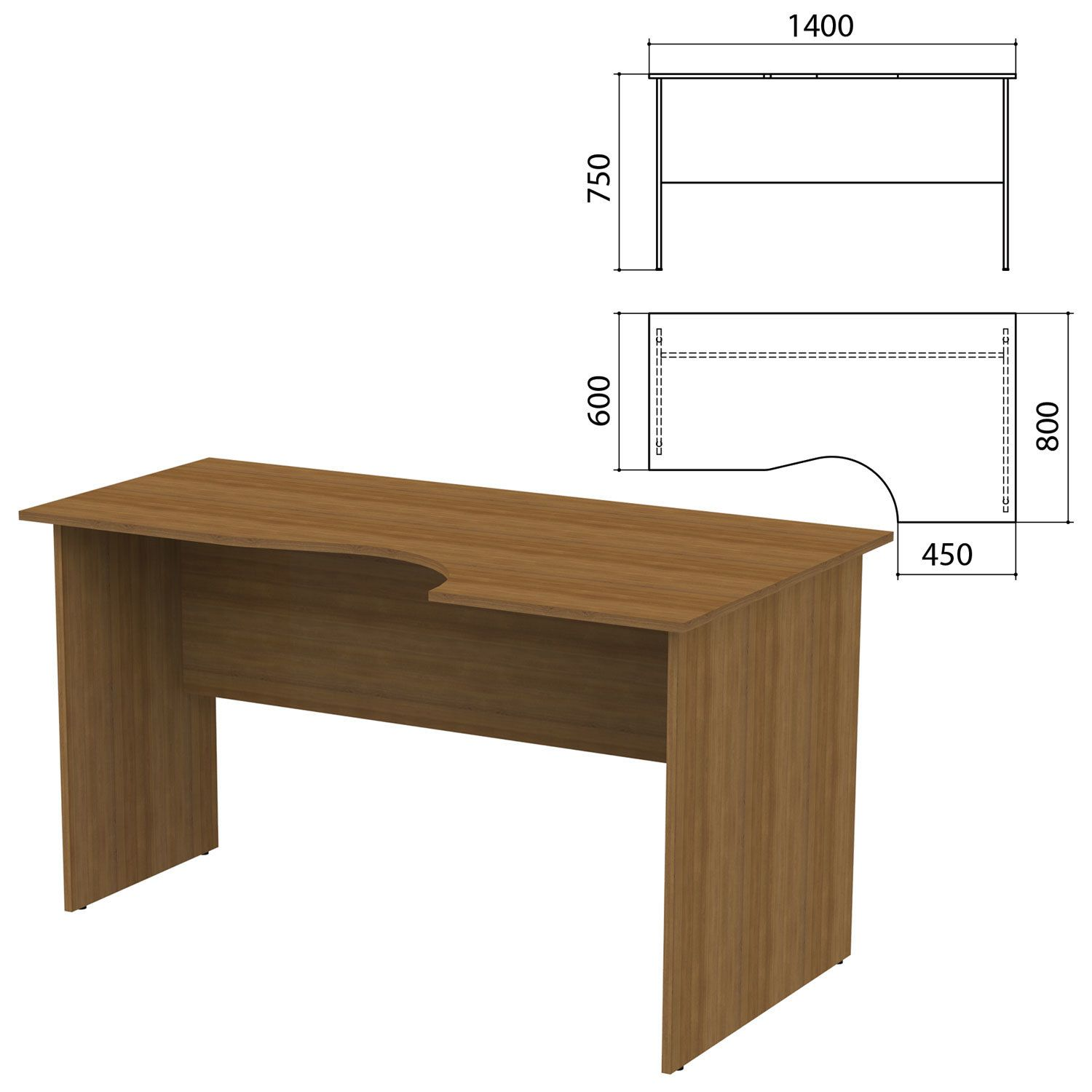"Table written ergonomic ""Kanz,"" 1400 x800s750 mm, right, walnut color pyramidal"