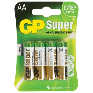 GP / Batteries Super, AA (LR06, 15A), alkaline, finger, blister, SET of 4 pcs.