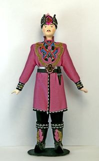 Doll gift porcelain. Astrakhan lips. Kalmyk festive costume. The end of the 18th and beginning of the 20th century.