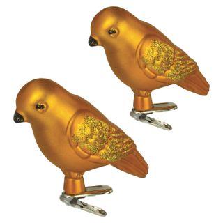 """GOLDEN TALE / Christmas tree decorations """"Bird"""", SET 2 pcs., Plastic, 8 cm, golden color"""