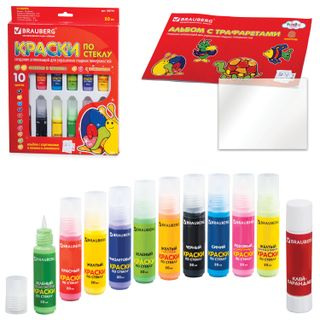 Paint on glass (stained glass) BRAUBERG, 10 colors in 20 ml (2 fluorescent, 2 with sparkles), the book of templates, glue