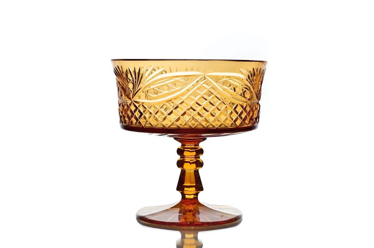"Crystal vase for cookies ""Swede"" amber"