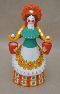 Dymkovo clay toy Lady peasant woman in kokoshnik