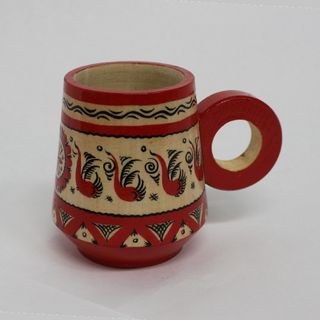 "Wooden mug ""Mezenskaya Rospis"" height 7 cm"