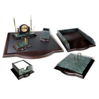 GALANT table set marble, 7 items, green marble/finish mahogany