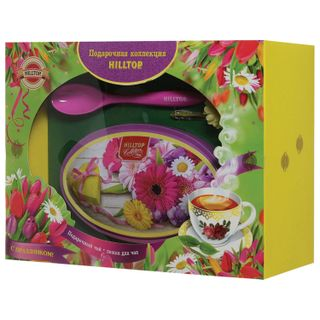 """HILLTOP / Black tea """"Magic moon"""" with a spoon for tea in a gift box """"SUMMER FLOWERS"""", 100 g"""