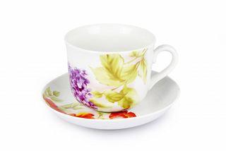 Dulevo porcelain / Tea cup and saucer set, 12 pcs., 450 ml Nostalgia Alpine flowers