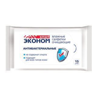 SMART / ECONOM antibacterial wet wipes, 15 pcs.