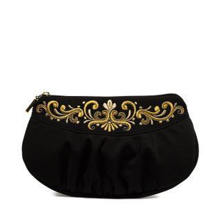 Satin black fantasy bag with gold pattern