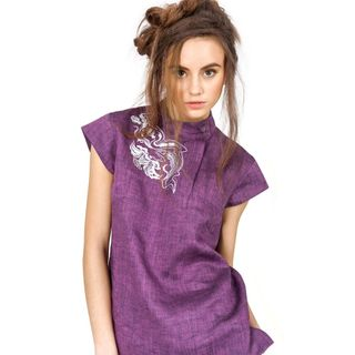 Blouse womens Modern purple color with silver embroidery
