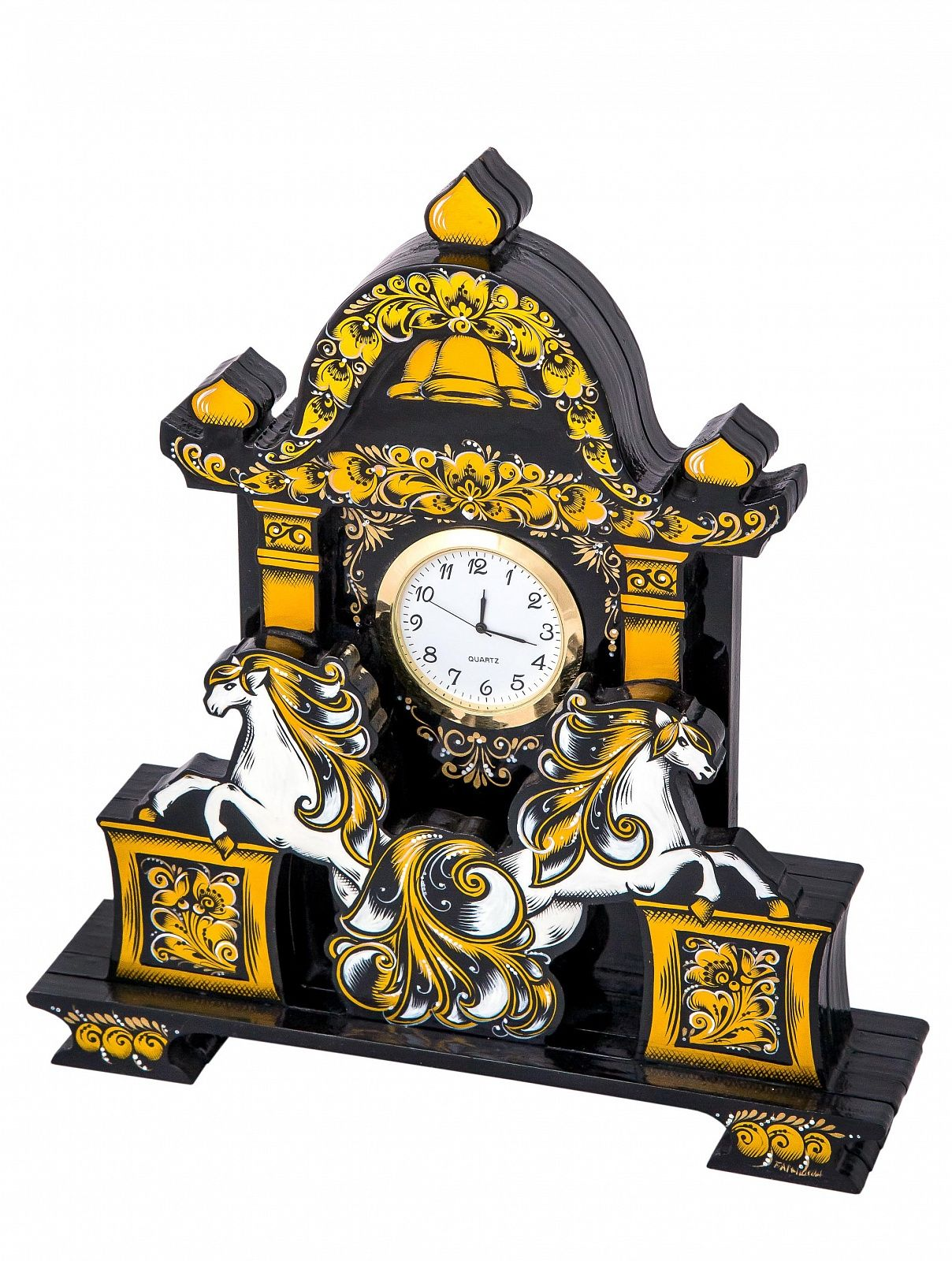 "Khokhloma painting / Table clock ""Time is golden"""