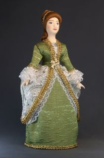 Doll gift porcelain. Lady in court dress. The beginning of the 18th century. Petersburg