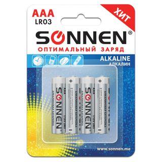 SONNEN / Batteries Alkaline, AAA (LR03, 24A), alkaline, little fingers, blister, SET 4 pcs.