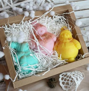 Designer soap set Snowmen Fruit