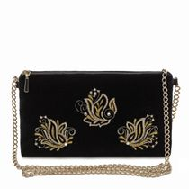 Velvet clutch 'Aroma of spring' in black with gold embroidery