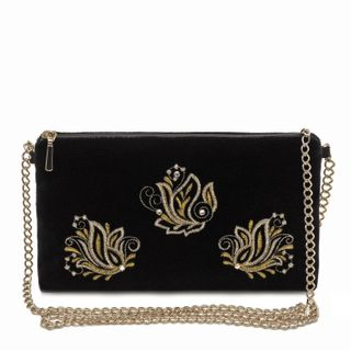 """Velvet clutch """"Aroma of spring"""" in black with gold embroidery"""