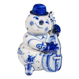 The sculpture Snowman with a double bass 1st grade, Gzhel Porcelain factory