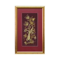Painting 'Spring morning' maroon color with Golden embroidery