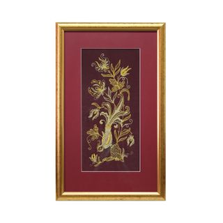 """Painting """"Spring morning"""" maroon color with Golden embroidery"""