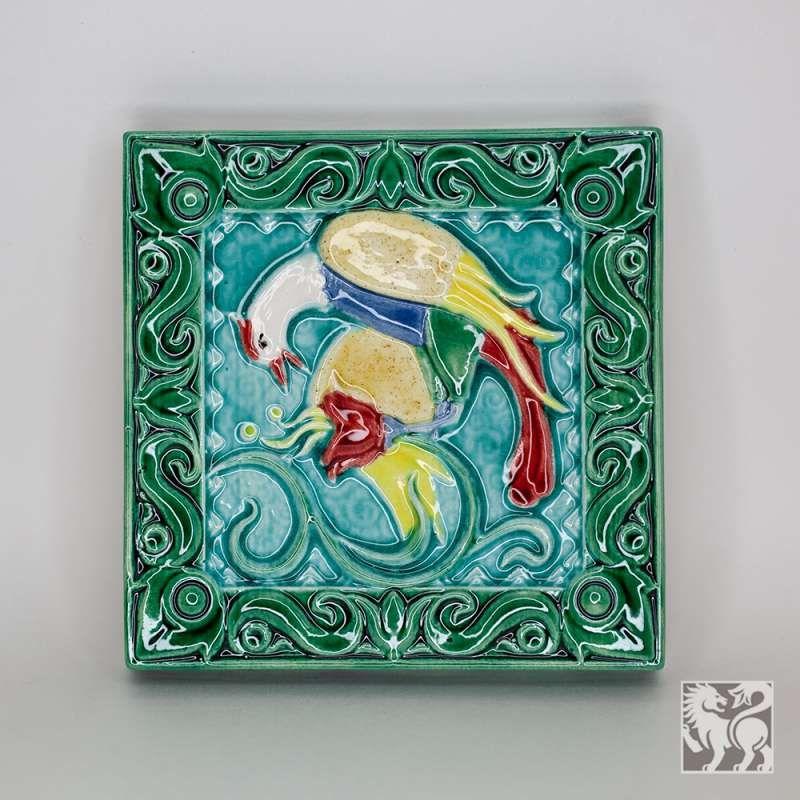"Yaroslavl majolica / Tile ""Bird drinks"", green"