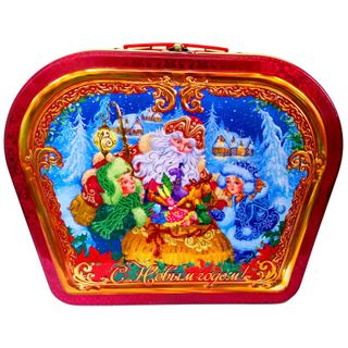 """New Year's gift Suitcase figured """"Wizard Santa Claus"""", a set of sweets 1200g."""