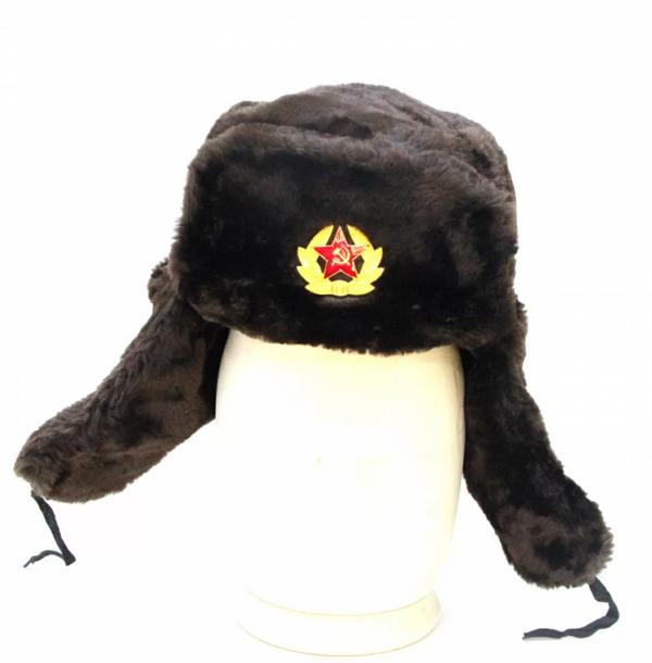 Matryoshka Factory / Brown Ushanka Hat with Cockade
