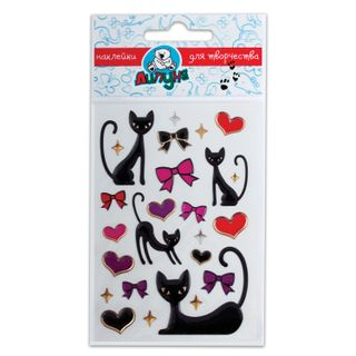 "Stickers LIPONA ""Large soft cat and hearts"" with Euro slot"