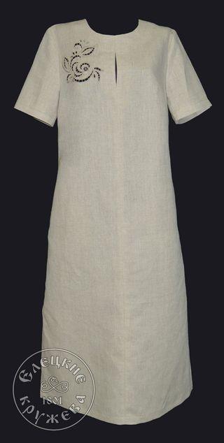 Dress womens linen embroidered С11794