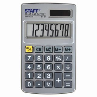 Pocket metal calculator STAFF STF-1008 (103x62 mm), 8 digits, dual power supply