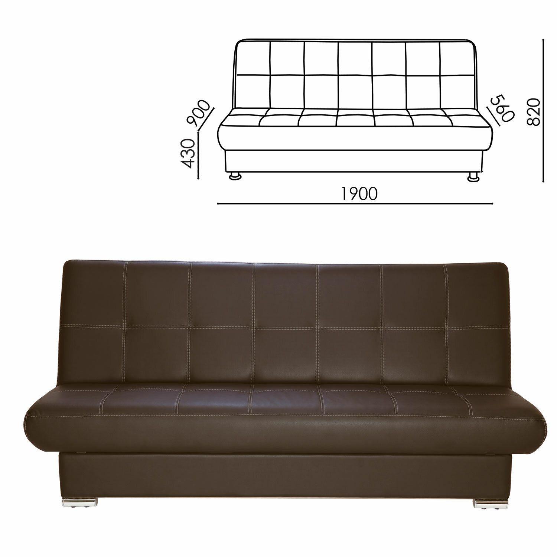"RAMART / Soft folding sofa ""Modesto"", 1900х900х820 mm, eco-leather, brown"
