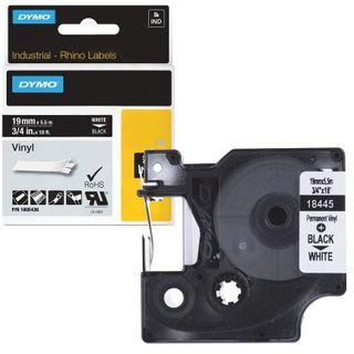 DYMO Rhino label printer cartridge, 19 mm x 5.5 m, vinyl tape, black font, white