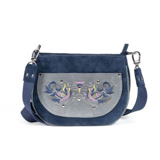 """Suede bag """"the Firebird"""" blue with silver embroidery"""