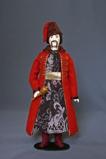 Doll gift porcelain. The costume of the Cossack ataman. The mid-17th century the Sich. Cossacks.