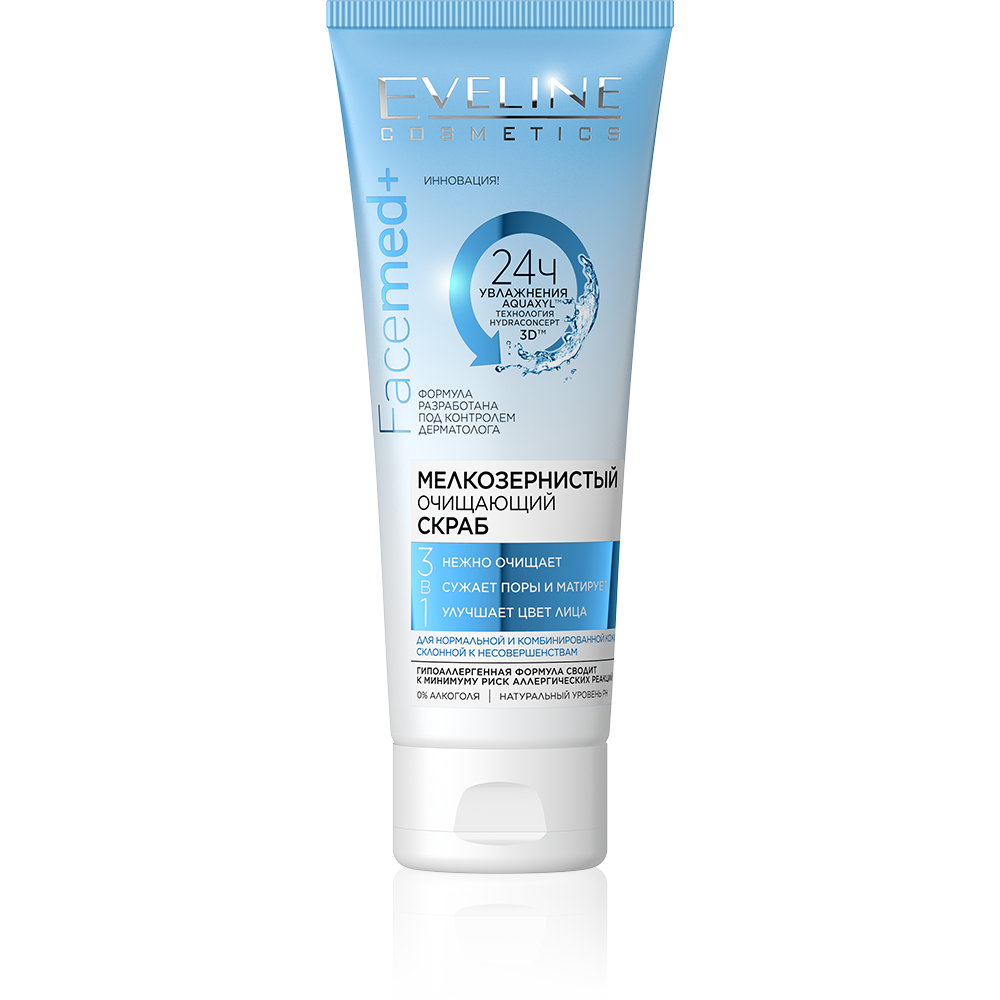 Fine-grained cleansing scrub for normal and combination skin 3in1 series facemed+, Eveline, 50 ml