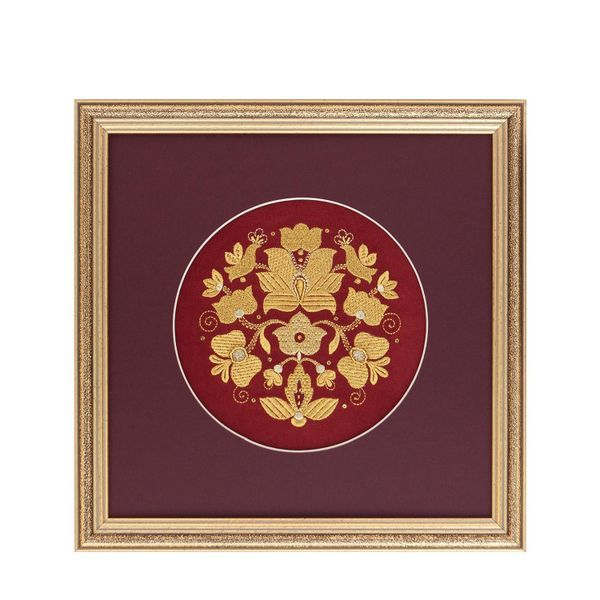 Mural 'garden of Eden' red color with Golden embroidery